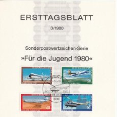 Sellos: ALEMANIA-BERLIN 578/81 ETB PRIMER DIA, AVION, AVIACION, . Lote 32787950