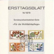 Sellos: ALEMANIA-BERLIN 568/71 ETB PRIMER DIA, FLORES DEL BOSQUE, . Lote 32788033