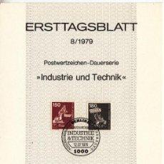 Sellos: ALEMANIA-BERLIN 558/9 ETB PRIMER DIA, INDUSTRIA Y TECNOLOGIA, EXCAVADORA, CARGADOR, . Lote 32788208