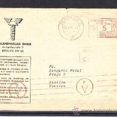 Sellos: ALEMANIA FRANQUEO MECANICO CIRCULADA, DIRIGIDA A LAMPARAS METAL SEVILLA DESDE BERLIN, CENSURA . Lote 32858138