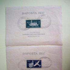 Sellos: HOJITAS DAPOSTA DEL AÑO1937 CON MATASELLOS PRIMER DIA EMISION MICHEL 270/71VALOR 180 EUROS. Lote 33390024