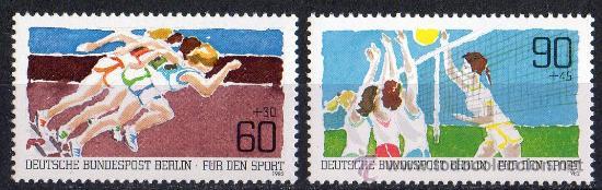 ALEMANIA BERLÍN AÑO 1982 YV 625/26*** PRO DEPORTES - ATLETISMO - VOLEIBOL (Sellos - Extranjero - Europa - Alemania)