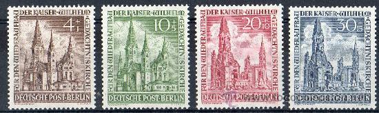 ALEMANIA BERLÍN AÑO 1953 YV 92/95*** RECONSTRUCCIÓN IGLESIA DEL EMPERADOR GUILLERMO - ARQUITECTURA (Sellos - Extranjero - Europa - Alemania)