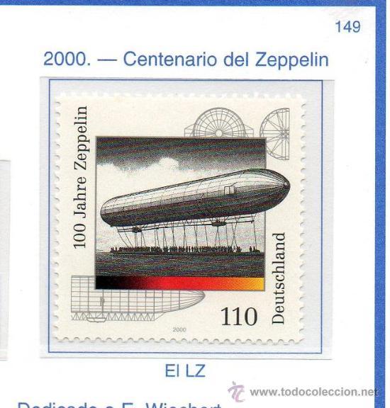 ALEMANIA FEDERAL=YVERT Nº 1960=CENTENARIO DEL ZEPPELIN=AÑO 2000=CATALOGO 1,75 € (Sellos - Extranjero - Europa - Alemania)