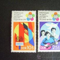 Sellos: ALEMANIA DDR Nº YVERT 1527/8** AÑO 1973. 10º FESTIVAL MUNDIAL DE JUVENTUD.SERIE CON CHARNELA. Lote 155710004