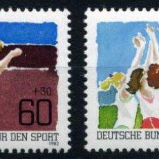 Sellos: ALEMANIA - BERLIN MI 664, 65 ** - AÑO 1982 - AYUDA AL DEPORTE: ATLETISMO, VOLEIBOL, 2V. Lote 40329561
