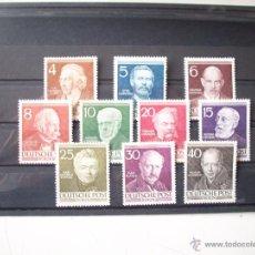 Sellos: ALEMANIA BERLÍN SERIE DE PERSONAJES DEL AÑO 1952 YBERT 77/86 EN NUEVO**. Lote 41292911