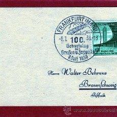 Sellos: ALEMANIA III REICH AÑO 1938, MATASELLOS DE PRIMER DÍA, CENTENARIO NACIMIENTO CONDE GRAF VON ZEPPELIN. Lote 43645786