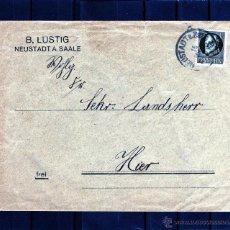 Sellos: ALEMANIA SOBRE NEUSTADT A. SAALE 1918, SELLO BAYERN LUIS III REY DE BAVIERA. Lote 43918534