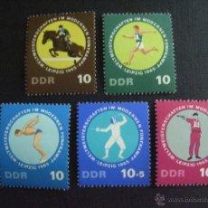 Sellos: ALEMANIA DDR Nº YVERT 833/7*** AÑO 1965. CAMPEONATO MUNDIAL DE PENTATHLON. Lote 206403546