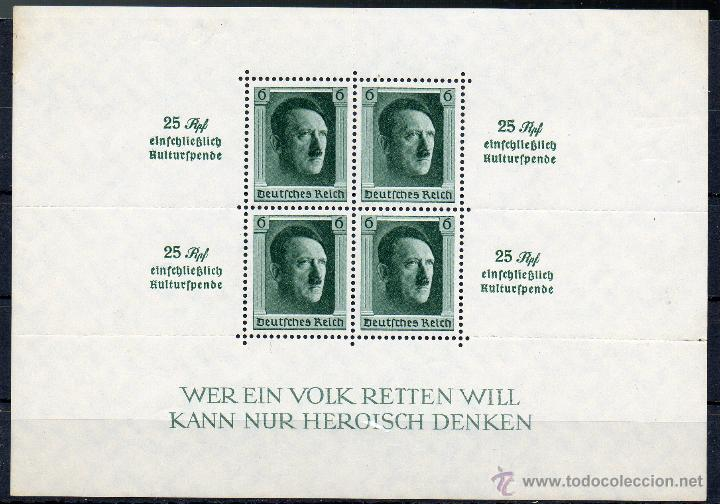 ALEMANIA IMPERIO III REICH AÑO 1937 YV HB 10*** ADOLF HITLER - PERSONAJES (Sellos - Extranjero - Europa - Alemania)
