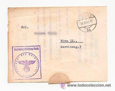 Sellos: CARTA DE LA UNIVERSIDAD CON SELLO NAZI . CURSO ALEMAN PARA EXTRANJEROS. 1943 - Foto 2 - 52952411