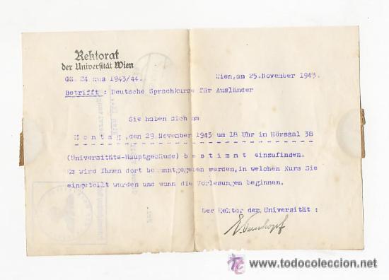 Sellos: CARTA DE LA UNIVERSIDAD CON SELLO NAZI . CURSO ALEMAN PARA EXTRANJEROS. 1943 - Foto 3 - 52952411