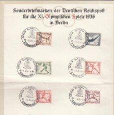 Sellos: OLIMPIADA DE MUNICH, DE 1936. HOJA OFICIAL, CONTENIENDO 8 SELLOS MATASELLADOS. . Lote 56821112