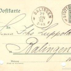 Sellos: POSTAL DEL IMPERIO ALEMAN 1903 DE STUTTGART A BALINGEN 12/084. Lote 58531898