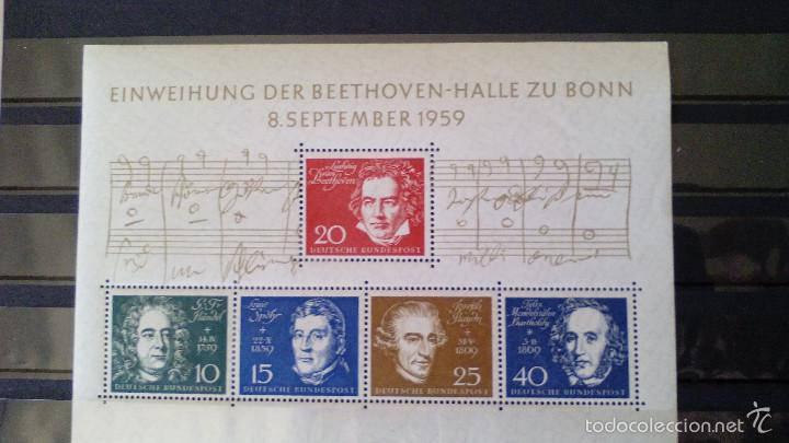 ALEMANIA FEDERAL 1959 HB IVERT 1 *** INAUGURACIÓN DEL BEETHOVEN-HALLE - ANIVERSARIO GRANDES MÚSICOS (Sellos - Extranjero - Europa - Alemania)