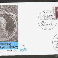 Sellos: ALEMANIA FEDERAL.1992. FDC. GEORG CHRISTOPH LICHTENBERG. Lote 134332142