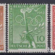 Sellos: BERLIN 1952 IVERT 74/6 *** JUEGOS OLIMPICOS DE HELSINKI - DEPORTES. Lote 78534649