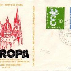 Sellos: ALEMANIA IVERT 164/5, EUROPA 1958, PRIMER DIA DE 13-9-1958. Lote 81748936