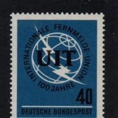 Sellos: ALEMANIA 337** - AÑO 1965 - CENTENARIO DE LA UNION INTERNACIONAL DE TELECOMUNICACIONES. Lote 234141870