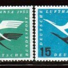 Sellos: ALEMANIA . 1955. SERIE: . LUFTHANSA. *.MH. Lote 86467720