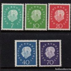 Sellos: ALEMANIA 173/77** - AÑO 1959 - 75º ANIVERSARIO DEL PRESIDENTE THEODOR HEUSS. Lote 88111788