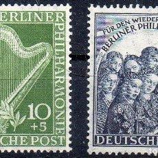 Sellos: ALEMANIA BERLÍN AÑO 1950 YV 58/59*** MÚSICA - INSTRUMENTOS MUSICALES. Lote 93290070