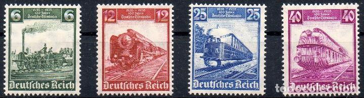 ALEMANIA III REICH AÑO 1935 YV 539/42*** CENTº DE LOS FERROCARRILES ALEMANES - TRANSPORTES - TRENES (Sellos - Extranjero - Europa - Alemania)