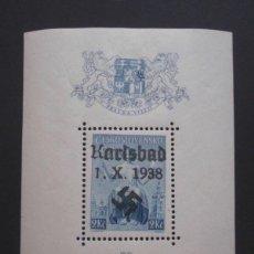 Sellos: SUDETES ALEMANES,HOJA BLOQUE DE KARSLAD,1938.OCASION UNICA!!MIRAD Y LEED!!!. Lote 95111327