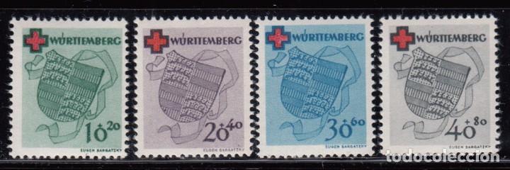 WURTEMBERG 1949 YVERT Nº 38 / 41 , MICHEL Nº 40 / 43 MHN (Sellos - Extranjero - Europa - Alemania)
