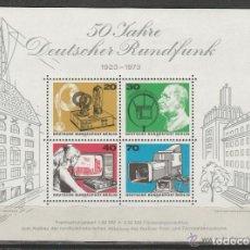 Sellos: BERLIN 1973. 50º ANIVERSARIO DE LA RADIODIFUSION ALEMANA. HB. **.MNH. Lote 97109487