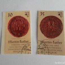Sellos: DOS ANTIGUOS SELLOS CONMEMORATIVOS 500 ANIVERSARIO DEL NACIMIENTO DE MARTIN LUTHER - 1982. Lote 104278431