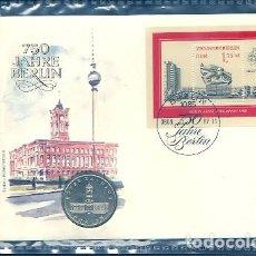 Sellos: 750 AÑOS BERLIN - SOBRE CON BLOQUE Y MONEDA DE 5 MARCOS - SIN USAR O TOCAR CON LA MAÑO. Lote 108303899