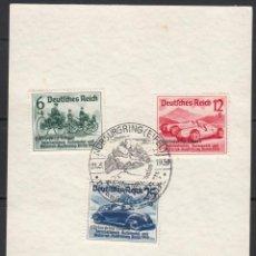 Sellos: ALEMANIA IMPERIO, 1939 YVERT Nº 629 A / 629 C , CARRERAS NÜRBURGRING , TEMA AUTOMÓBILES. Lote 109529783