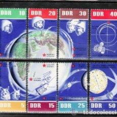 Sellos: ALEMANIA ORIENTAL DDR 1962 IVERT 638/45 *** 5º ANIVERSARIO VUELOS COSMICOS SOVIETICOS - ESPACIO. Lote 112449963