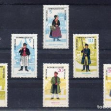 Sellos: ALEMANIA ORIENTAL DDR 1964 IVERT 777/82 *** COSTUMBRES REGIONALES (I) - FOLKLORE. Lote 112452775