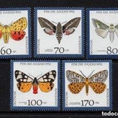Sellos: ALEMANIA FEDERAL 1992 IVERT 1430/34 *** FAUNA - MARIPOSAS. Lote 120334951