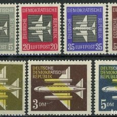 Sellos: ALEMANIA ORIENTAL DDR AEREO 1957 IVERT 1/7 * SERIE BÁSICA - AVIONES. Lote 125308783