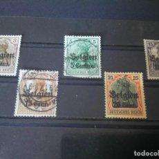 Sellos: ALEMANIA, OCUPACIÓN DE BELGICA 1916, MICHEL 2, 11,15,16 Y 17. Lote 125957567