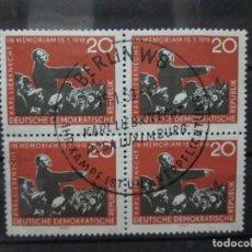 Sellos: REPUBICA ALEMANIA DEMOCRATICA EN BLOQUE DE 4 KARL LIEBKNECHT 15,11, 1919. Lote 132416542