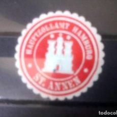Selos: ALEMANIA, ANTIGUO SELLO DE LA OFICINA PRINCIPAL DE ADUANAS DE HAMBURGO, ST. ANNEN. Lote 135415606
