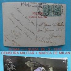 Sellos: FILATELIA - POSTAL ROMA A SUIZA MARCA POSTA ESTERA (CORREO EXTERIOR) + CENSURA MILITAR AÑO 1918. Lote 135814746