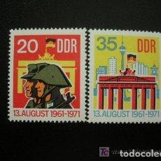 Sellos: ALEMANIA ORIENTAL DDR 1971 IVERT 1381/2 *** 10º ANIVERSARIO DEL MURO DE BERLIN. Lote 136802946