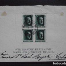 Sellos: ALEMANIA SEGUNDA II GUERRA MUNDIAL III REICH ALEMÁN HOJA BLOQUE SELLOS ADOLFO HITLER USADA AÑO 1937. Lote 140560822