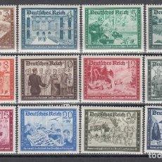 Sellos: ALEMANIA IMPERIO, 1939 YVERT Nº 640 / 651 /*/. Lote 142824786