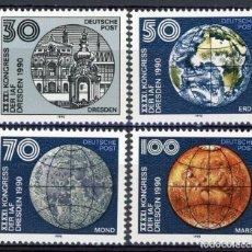 Sellos: ALEMANIA ORIENTAL DDR 1990 IVERT 2965/8 *** 41º CONGRESO FEDERACIÓN INTERNACIONAL DE ASTRONAÚTICA. Lote 143725782