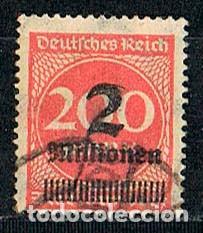 ALEMANIA REICH IVERT Nº 281, HIPERINFLACCION, SOBRECARGADO 2.000.000 MARCOS, USADO (Sellos - Extranjero - Europa - Alemania)