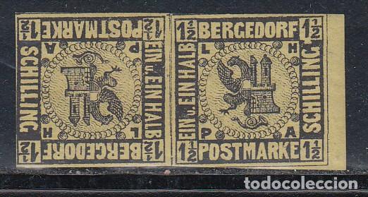 ALEMANIA, BERGEDORF, 1861 YVERT Nº 4 A /*/, TETE-BECHE. (Sellos - Extranjero - Europa - Alemania)