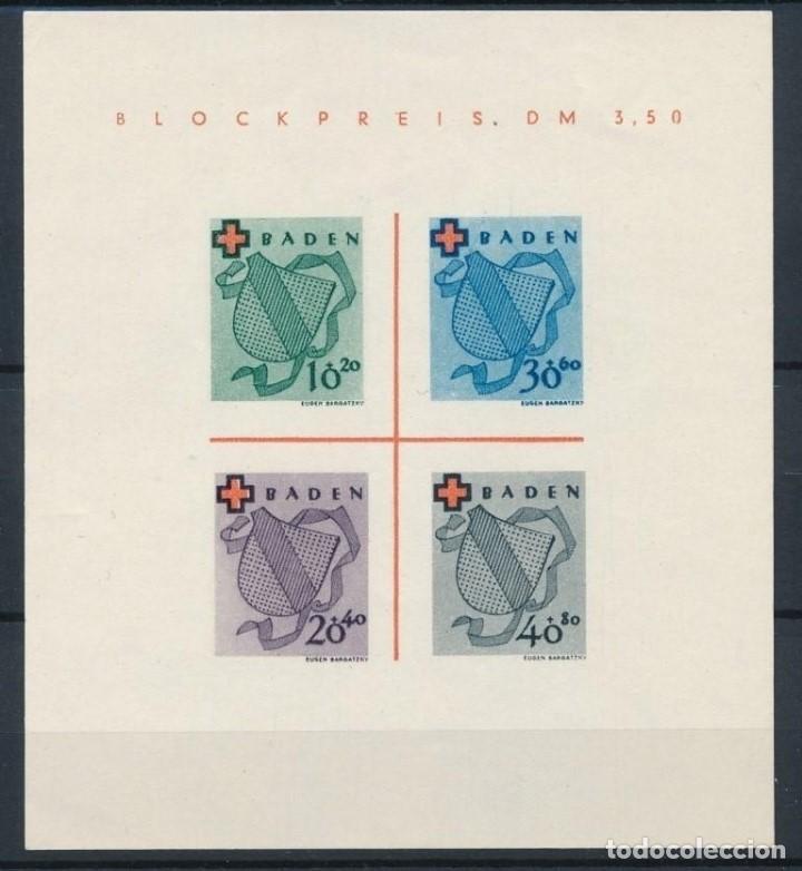 SELLOS BADEN 1949 OCUPACIÓN FRANCESA CRUZ ROJA HOJA BLOQUE 2 (Sellos - Extranjero - Europa - Alemania)