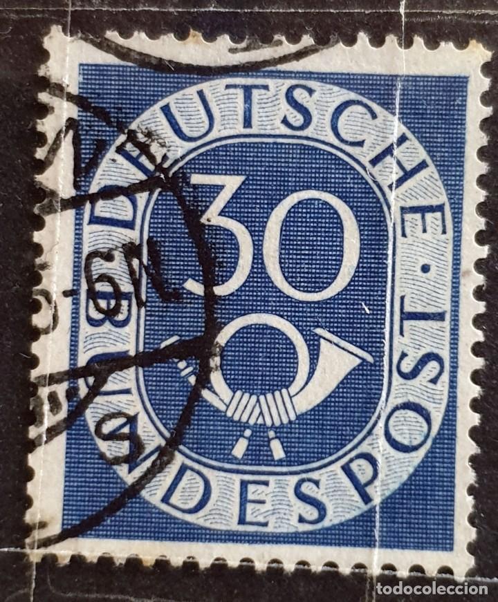 ALEMANIA - DEUTSCHE BUNDESPOST - CUERNO POSTAL Y CIFRA - 30 PFG - 1951 (Sellos - Extranjero - Europa - Alemania)